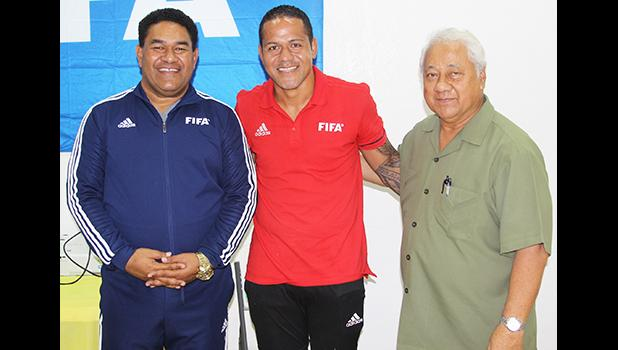 Nicky Salapu (middle) with Alex Godinet, and FIFA referee instructor Tevita Ve'a
