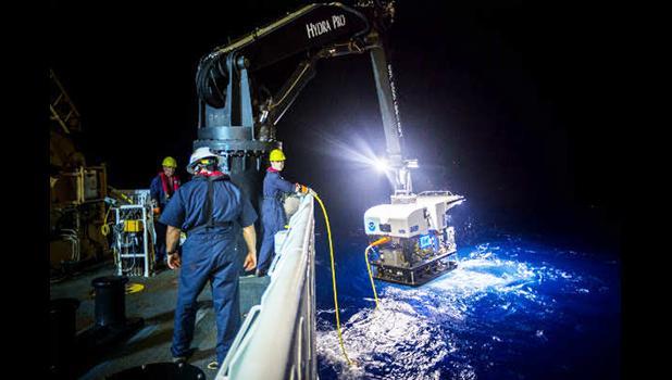 A NOAA vessel conducting ocean ecosystem studies