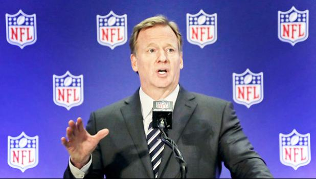 FILE - In this Oct. 18, 2017, file photo, NFL commissioner Roger Goodell speaks during a news conference in New York. The AP reported Nov. 3, 2017, that a viral online story claiming Goodell had been ousted from his post leading the league was untrue. (AP Photo/Julie Jacobson, File)