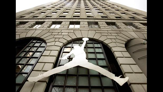 The famous Nike Michael Jordan image graces the front of the Niketown store in downtown Portland, Ore