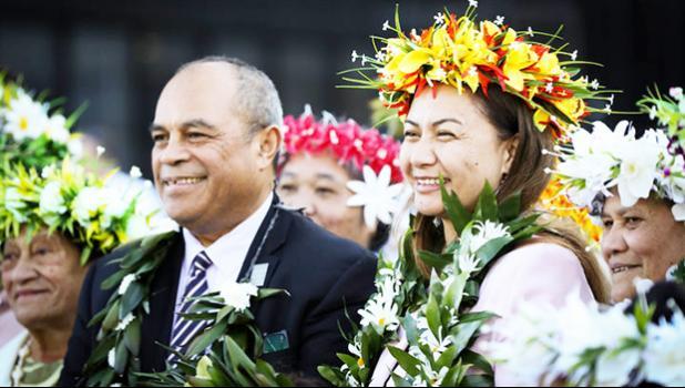 Su'a William Sio (left) and Green Party co-leader Marama Davidson (right)
