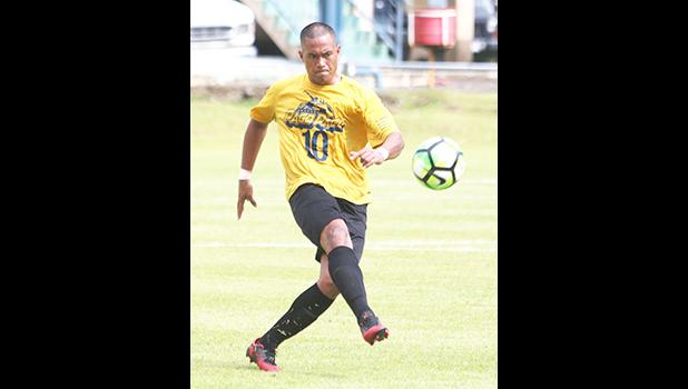 Team captain for the Pago Youth Soccer Team, Ryan Samuelu – clearing out the ball during the second half of their OFC Champions League Qualifier as they tied Veitongo FC 1 - 1 in their first match up of the competition. [photo: TG]