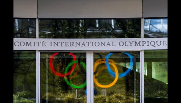 The Olympic Rings are displayed at the entrance of the IOC