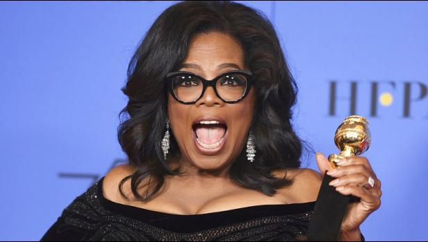 In this Sunday, Jan. 7, 2018 file photo, Oprah Winfrey poses in the press room with the Cecil B. DeMille Award at the 75th annual Golden Globe Awards in Beverly Hills, Calif. On Friday, Jan. 19, 2018, The Associated Press has found that stories circulating on the internet about Winfrey saying that old white people need to die are untrue. (Photo by Jordan Strauss/Invision/AP)