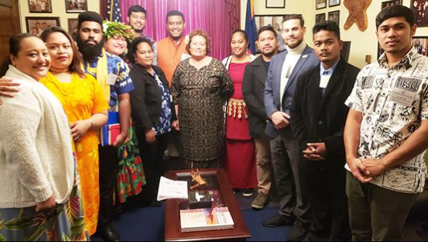 Pacific Young Leaders group with Congresswoman Amata