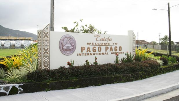 Sisgn at entrance to Pago Pago International Airport