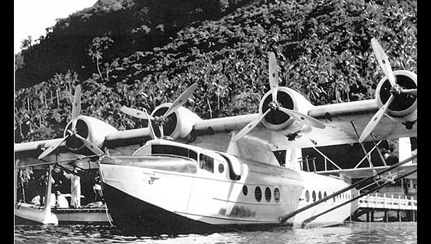 """Pan American Airways """"Samoan Clipper"""" flying boat in Pago Pago in December 1937."""