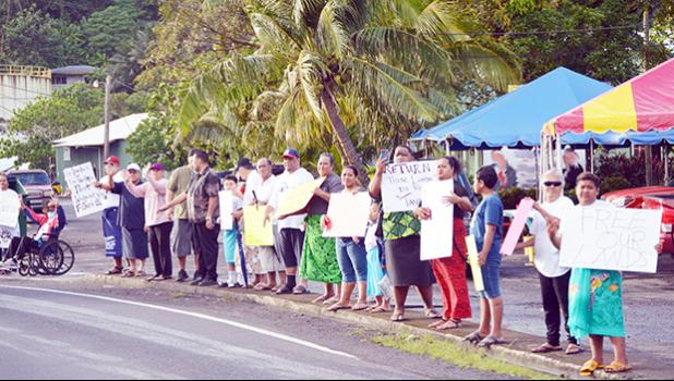 Demonstrators protesting use of land