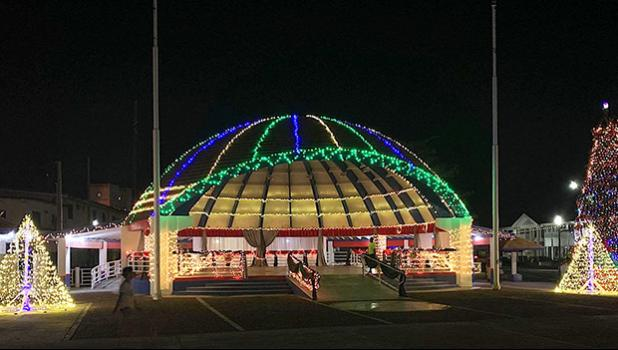 Christmas lights and decorations at Fagatogo Pavillion