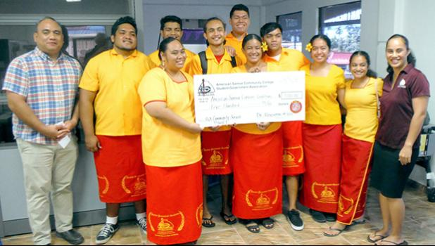 Members of the ASCC Student Government Association (SGA) present a donation of $500 to the American Samoa Community Cancer Coalition (ASCCC)