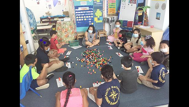 Teacher and students all with masks on, sitting on the floor during a learning exercise.