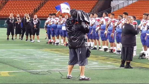 Team Amerika Samoa 2020 JPS Paradise Football Classic V Champions singing the Amerika Samoa Anthem