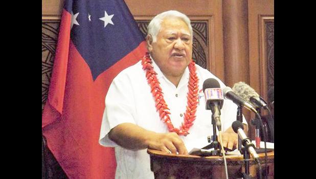 Tuila'epa Sa'ilele Malielegaoi addressing Samoa
