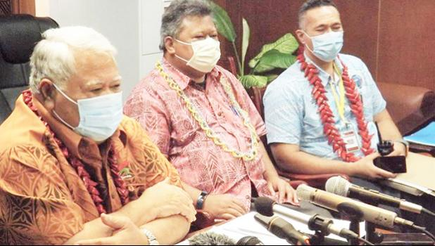 PM Tuila'epa, (left), Director of Health Leausa Dr Take Naseri and Interim Chair of the NEOC, Agafili Tomaimano Shem Leo.