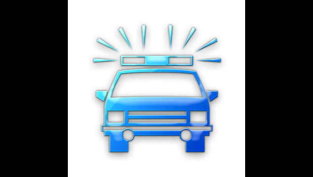 Blue police car graphic.