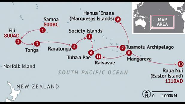 POLYNESIAN MIGRATION ROUTE GRAPHIC