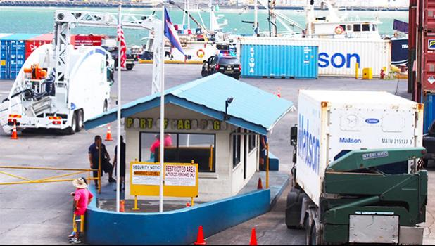 A black police unit inside the Pago Pago Harbor, that responded along with the fire truck and AS-EPA to an ammonia leak just after 10a.m yesterday prompting the temporary shutdown of entry into the main dock. [photo: FS]