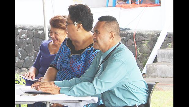 Taimalelagi Dr. Claire Poumele; airport grants business manager, Falenaoti Loi-0n Fruean; and airport manager, Tavita S. Fuimaono