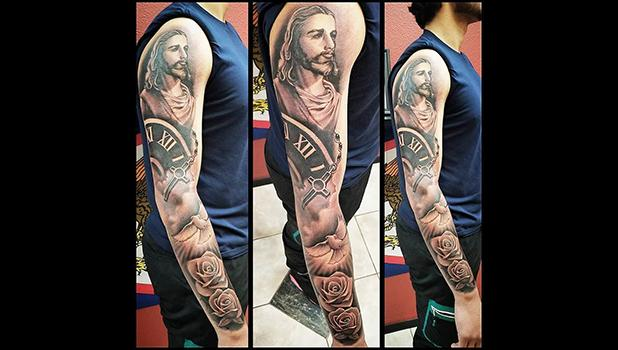 A full arm tattoo