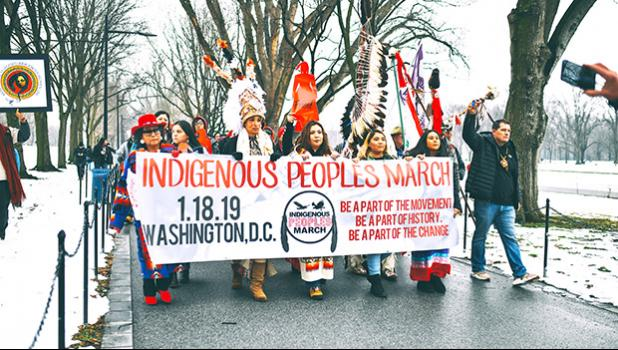 Indigenous Peoples Movement March on Jan. 18th from the US Department of Interior Building to the Lincoln Memorial in Washington D.C.