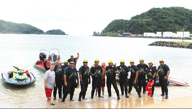 Pago Pago International Airport's Aircraft Rescue and Fire Fighters (ARFF) crew at Utulei Beach on Tuesday, Dec. 17.