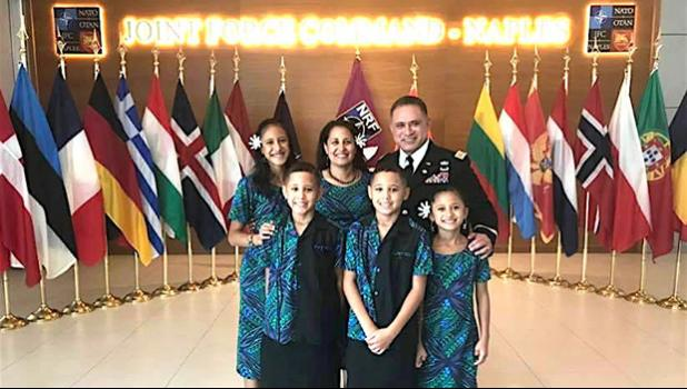 Colonel Filifaiesea Robert Lee Leiato, with his wife and children