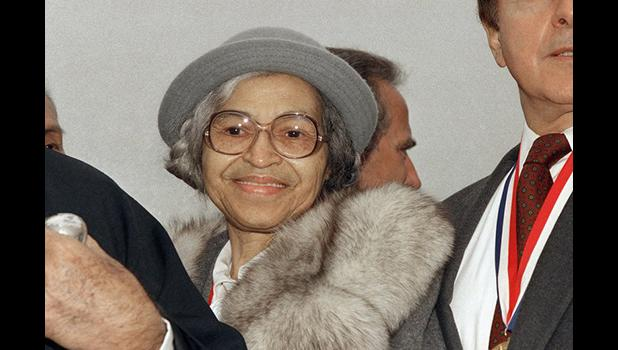 This Oct. 28, 1986, file photo shows Rosa Parks at Ellis Island