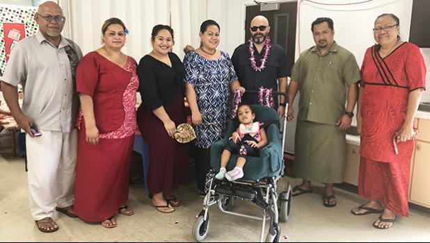 On Monday the Rotary Club of Pago Pago presented a specialized wheel chair to DOE's Special Education and Fagaitua's ECE student Gloria Kuresa.