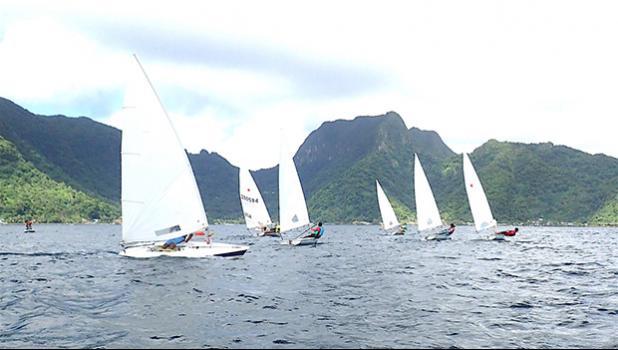 Sailboats sailing in Pago Harbor