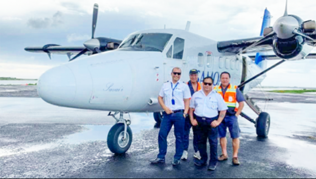 Samoa Airways crew temporarily stationed in American Samoa and operating the Manu'a flights.