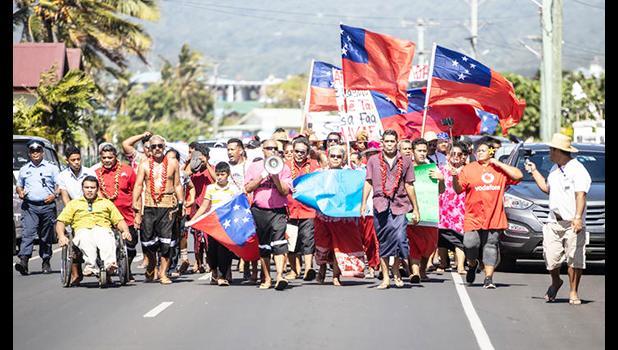 Demonstrators in Apia this week