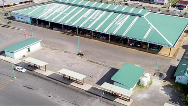 An empty, closed Fugalei market in Apia