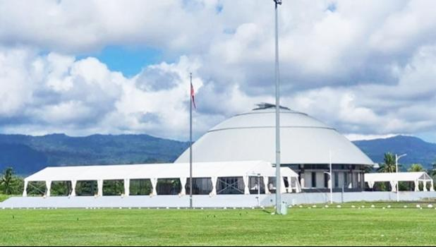 Samoa parliament building with tents