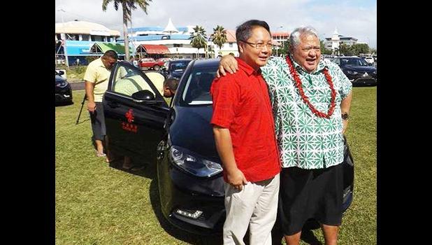 Samoa Prime Minister Tuila'epa Sa'ilele Malielegaoi with the Chinese Ambassador Wang Xuefeng