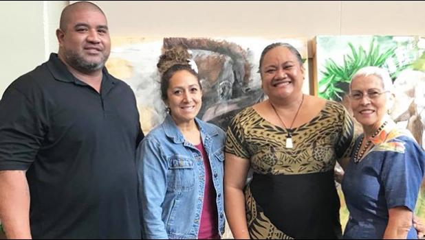 The Faleomavaega Eni Hunkin foundation supported the 2018 Samoan Language Symposium.  Representing the foundation were family members including Mrs. Hinanui Hunkin (right), widow of Faleomavaega along with one of their daughters and sons-in-law (left). They are pictured with Elisapeta Alaimaleata director of Le Fetuao Samoan Language Center (2nd right).