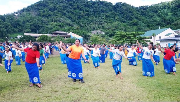 Samoana High School students practice for Flag Day 2019 performance