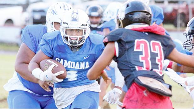 Samoana's running back breaking out to center field and coming face-to-face with the Marist Crusader defensive backs