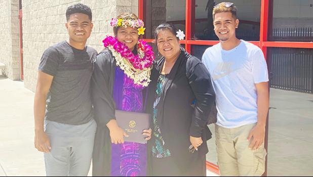 Saoimoana Fagaima with her mother and brothers