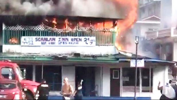 Scanlan building in Fagatogo on fire