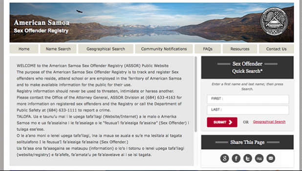 Americsn Samoa Sex Offender Registry website at https://americansamoa.nsopw.gov/