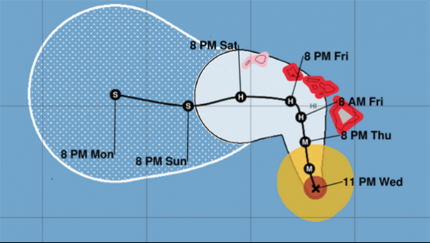 ere's the latest forecast track for Hurricane Lane as it marches toward the state. (Image: Central Pacific Hurricane Center)