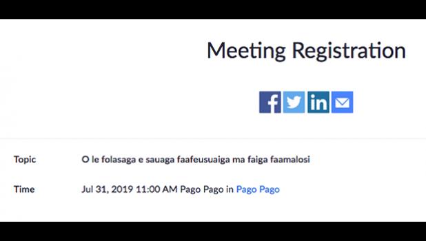 Screenshot of meeting registration form.