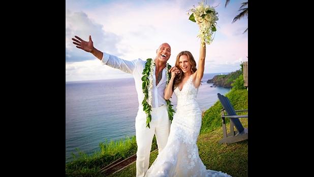 The Rock and bride, Lauren Hashian