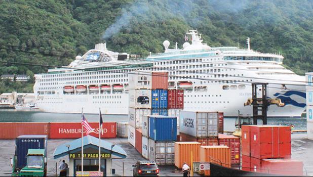 "The ""Sea Princess"" — a Princess Cruises vessel docking in Pago Pago horbor,"