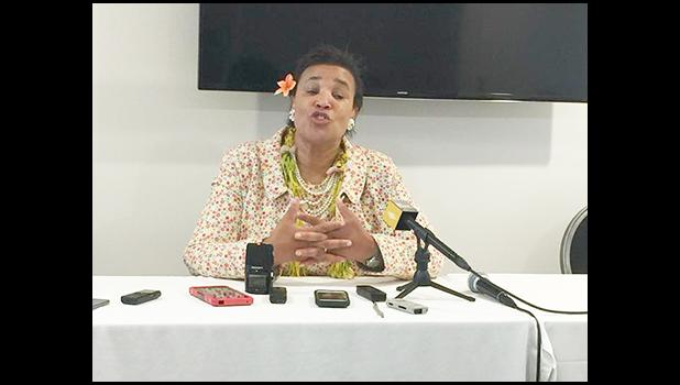 Patricia Scotland, Secretary-General of the Commonwealth during a press conference with the Samoa Media last week at the Women's Affairs Ministerial Meeting. She stressed the economic value of gender equality across political, business and civil sectors and noted that the meeting was successful and productive as well.  (Photo JL)