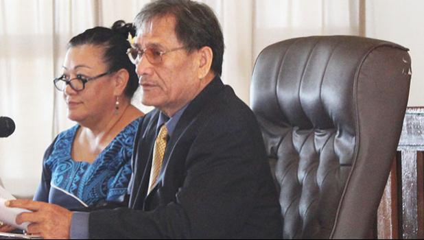 In this 2017 file photo, Senate legal counsel, Mitzie Jessop-Ta'ase (left) is pictured in the Senate chamber with Senator Magalei Logovi'i  [SN file photo]