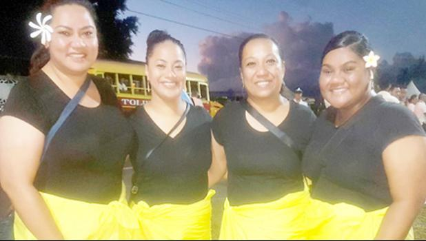 Senetenari Aumavae (far right) in Apia with the other tattoo lady members who marched in the flag raising Saturday