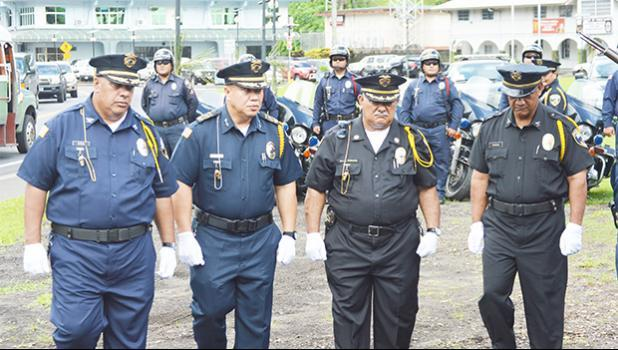 Seniors police officers parading during 2017 Police Week celebration.