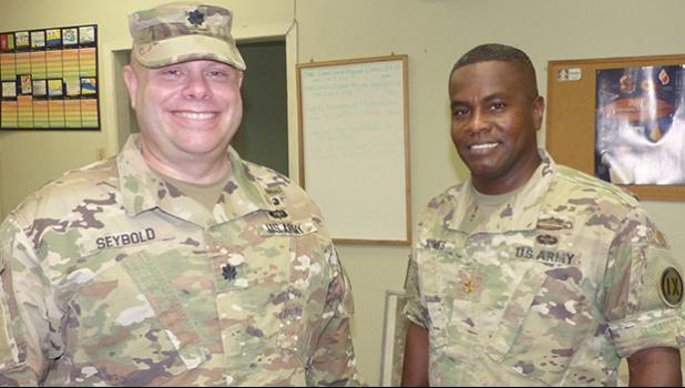 US Army Lt. Col. Clinton C. Seybold (left), Commander of the local US Army Reserve and U.S. Army Maj. Ullisses Taymes (right)