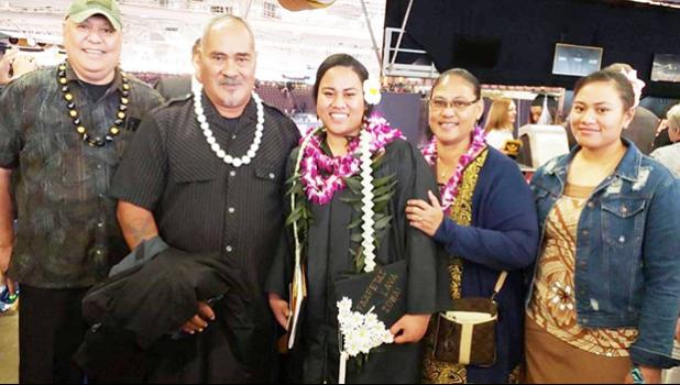 Soaalii Leah Moliga with her parents and other family members